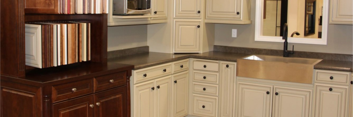 Country style kitchen cabinets with glass doors